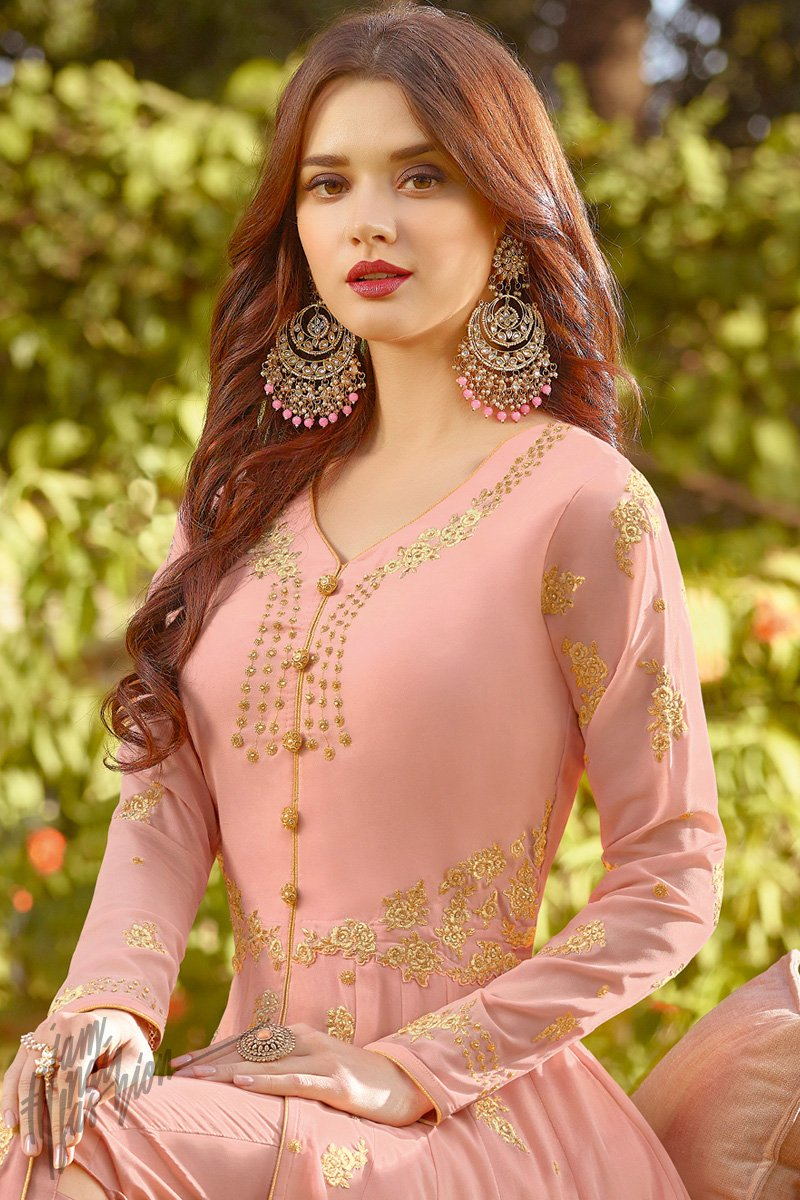 Peach Puff Soft Georgette Party Wear Suit