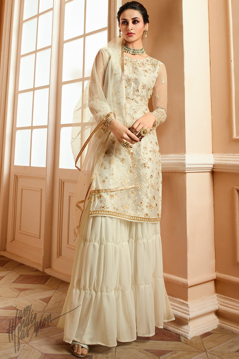 Pearl White Satin and Net Party Wear Sharara Suit