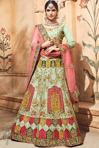 Pista Green and Pink Satin Bridal Lehenga Set