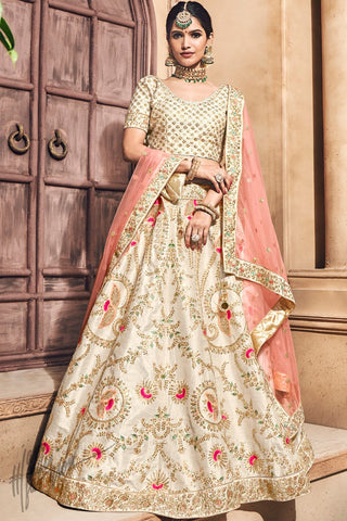 Cream and Pink Melbourne Silk Bridal Lehenga Set