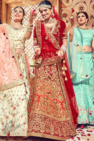 Red and Orange Shaded Velvet Bridal Lehenga Set