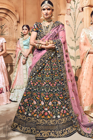 Blue and Mauve Velvet Bridal Lehenga Set