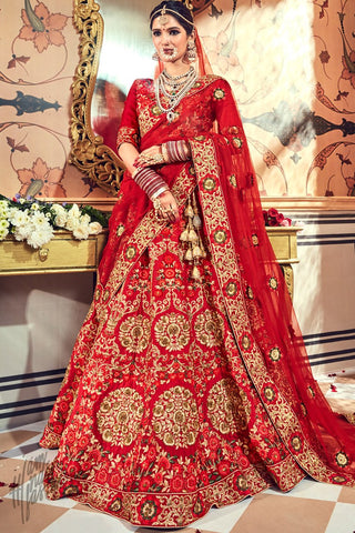 Red Pure Satin Bridal Lehenga Set