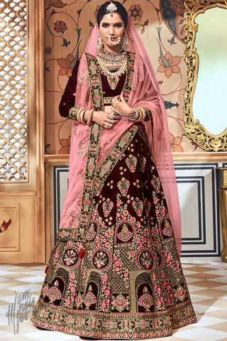 Wine and Pink Velvet Bridal Lehenga Set