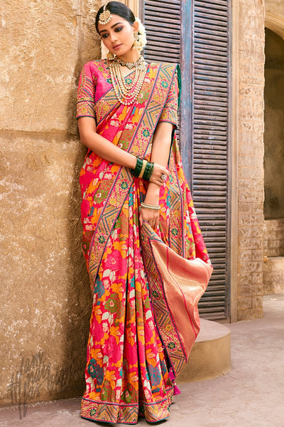Pink Multicolor Banarasi Pure Silk Wedding Saree