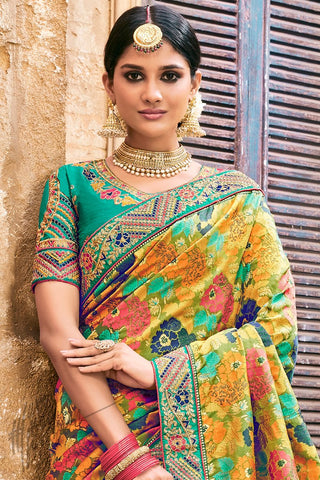 Teal and Yellow Multicolor Banarasi Pure Silk Wedding Saree