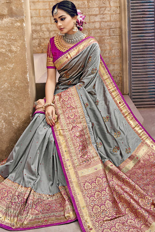 Gray and Purple Banarasi Pure Silk Wedding Saree