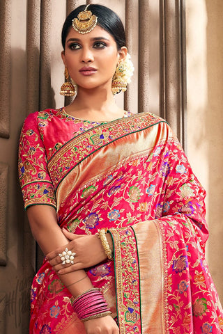 Valentine Red Banarasi Pure Silk Wedding Saree