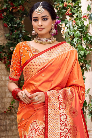 Orange Banarasi Pure Silk Wedding Saree