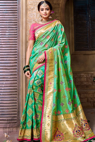 Sea Green and Pink Banarasi Pure Silk Wedding Saree