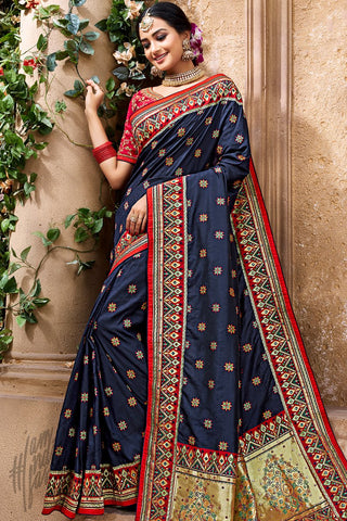 Navy Blue and Red Banarasi Pure Silk Wedding Saree