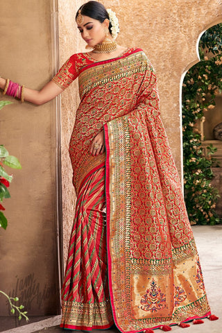Red Banarasi Pure Silk Wedding Saree