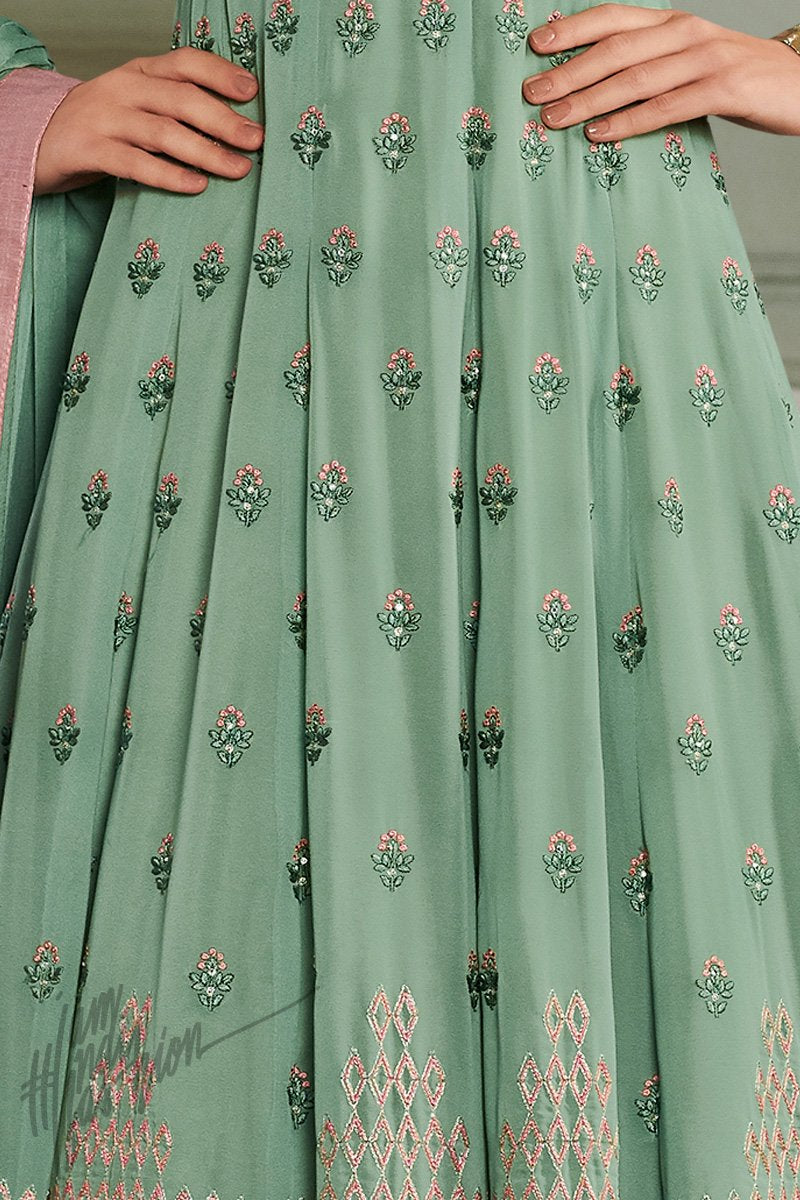 Frog Green Georgette Party Wear Anarkali Suit