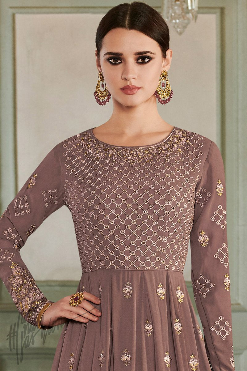 Brown Georgette Party Wear Anarkali Suit