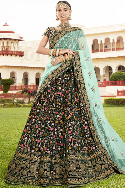 Bottle Green Lehenga Set