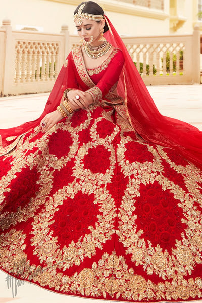 Red Pure Satin Silk Lehenga Set