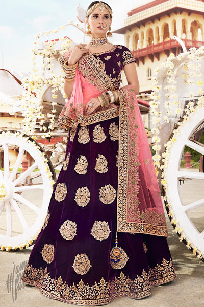 Dark Purple Velvet Lehenga Set