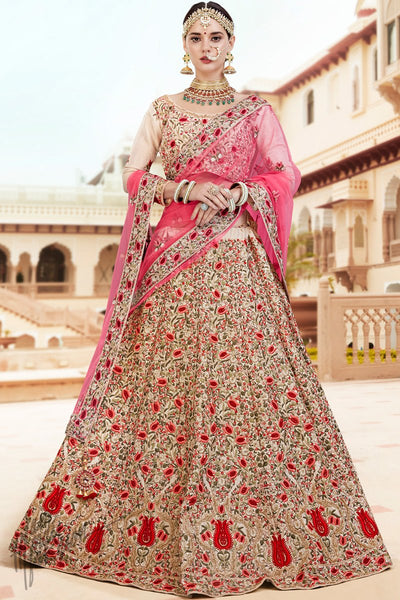 Cream Banarasi Tissue Silk Lehenga Set