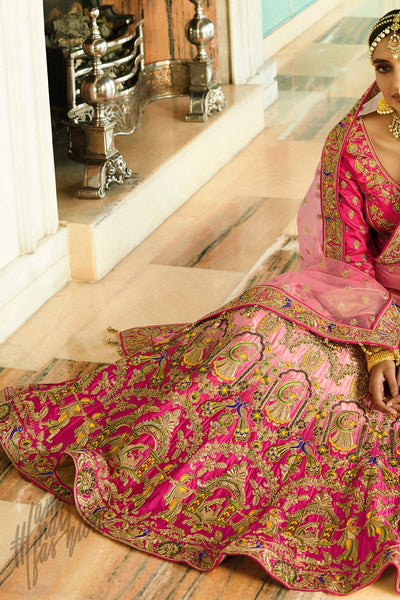 Pink Shaded Satin Silk Lehenga Set
