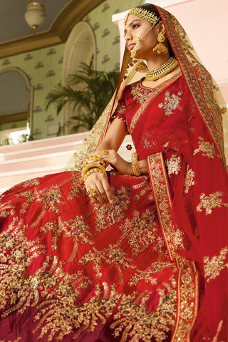 Red and Wine Shaded Satin Lehenga Set with Double Dupatta