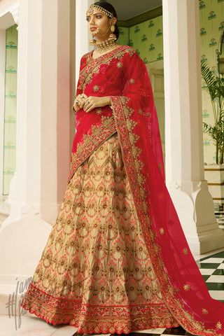 Red and Beige Satin and Velvet Lehenga Set