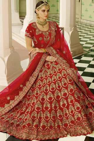 Red and Orange Velvet Lehenga Set with Double Dupatta