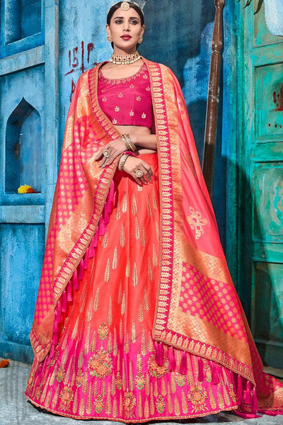 Red and Magenta Ombre Silk Lehenga Set