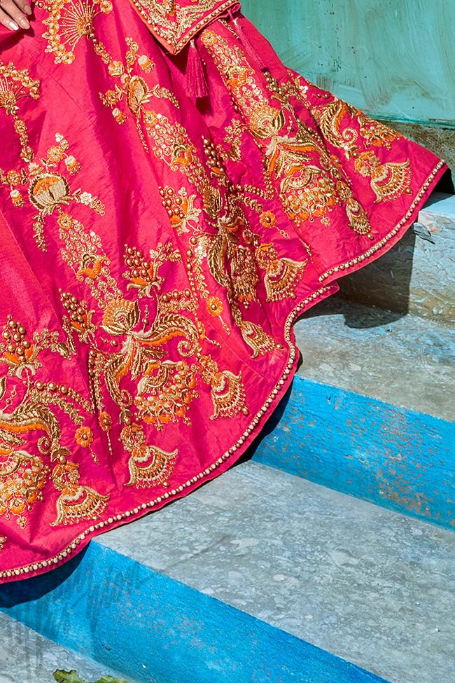 Magenta and Peach Silk Lehenga Set