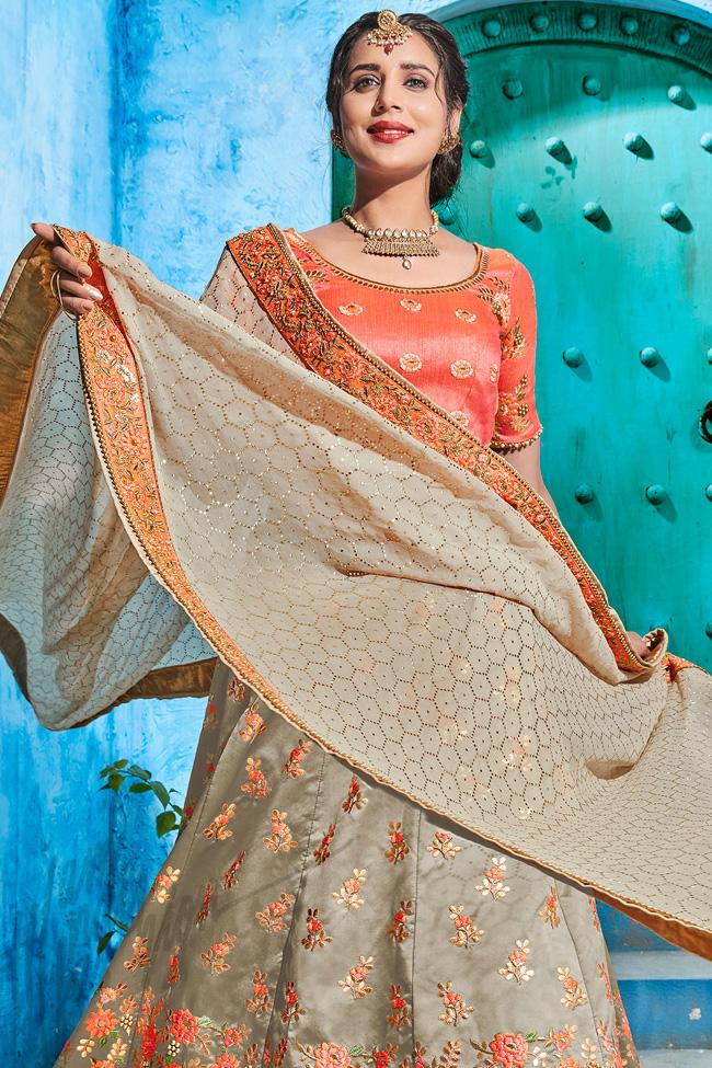 Beige and Peach Silk Lehenga Set