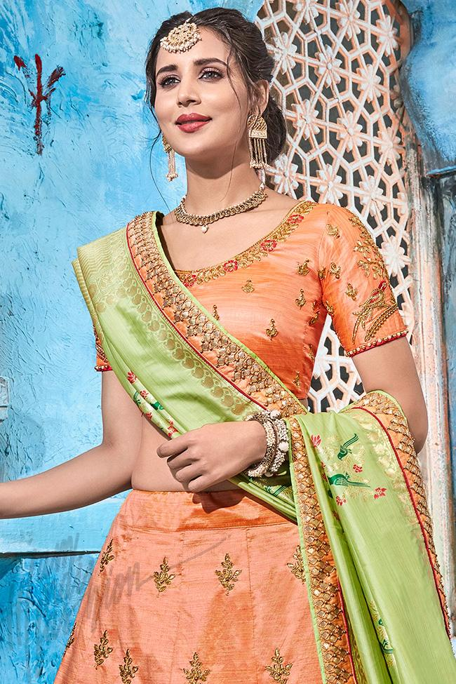 Peach and Green Silk Lehenga Set