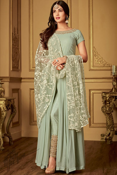 Light Pista Georgette Ankle Length Party Wear Suit