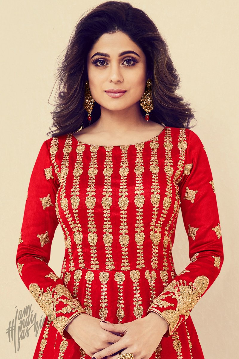 Red Silk Party Wear Anarkali Suit