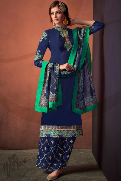 Blue Heavy Maslin Palazzo Suit