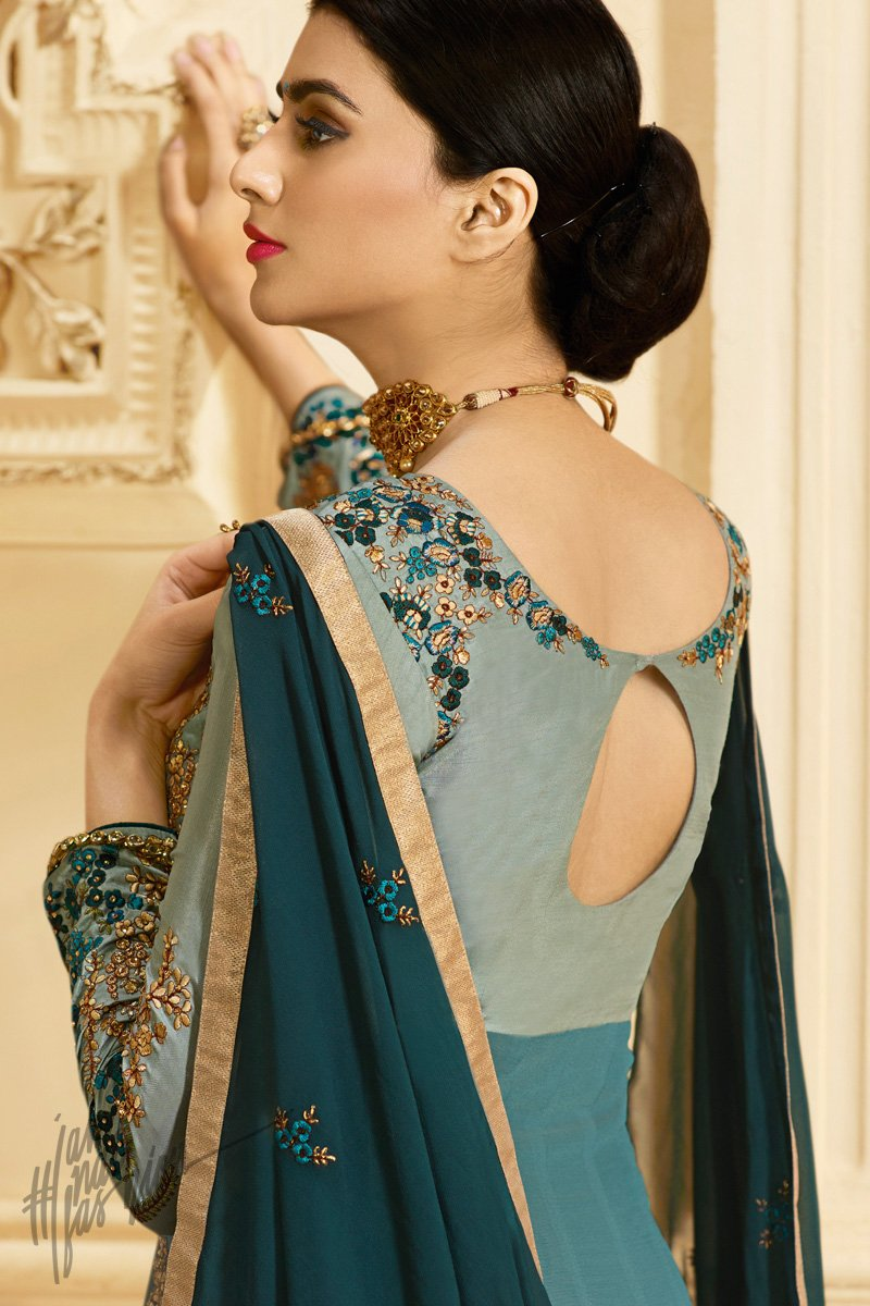 Sky and Dark Blue Ombre Georgette Layered Party Wear Floor Length Suit