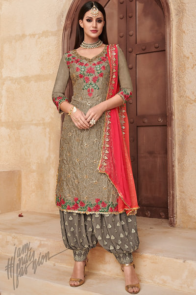 Brown and Red Faux Georgette Party Wear Patiala Suit