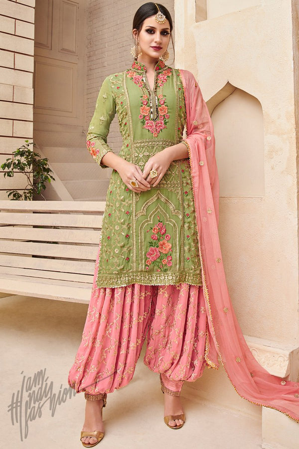 Green and Pink Faux Georgette Party Wear Patiala Suit
