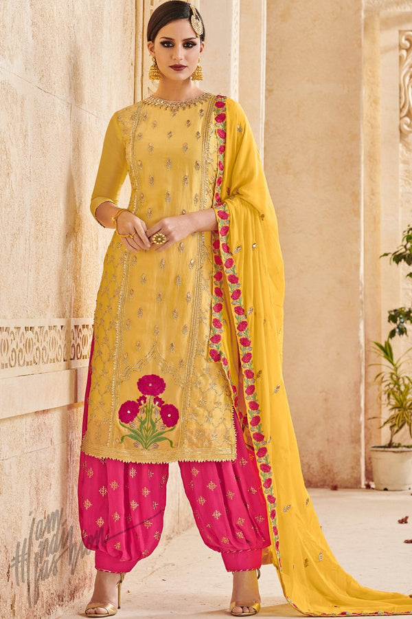 Yellow and Magenta Faux Georgette Party Wear Patiala Suit