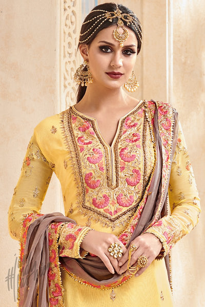 Yellow and Gray Faux Georgette Party Wear Patiala Suit