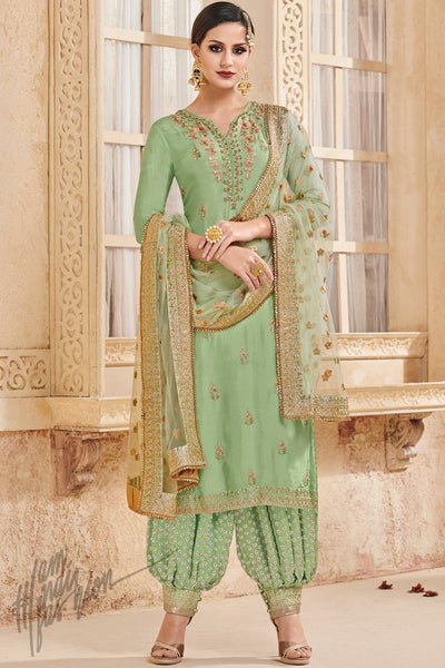 Green Faux Georgette Party Wear Patiala Suit