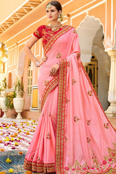 Pink and Red Georgette and Silk Saree