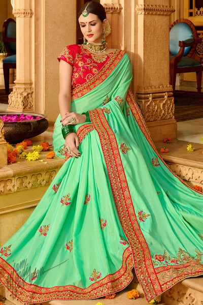 Green and Red Georgette and Silk Saree