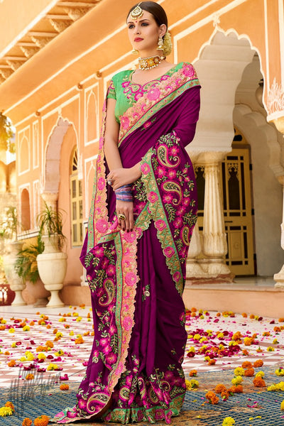 Purple and Parrot Green Georgette and Silk Saree