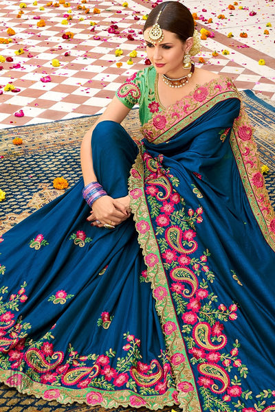 Blue and Parrot Green Georgette and Silk Saree