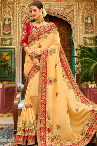 Fanta Yellow and Red Georgette and Silk Saree