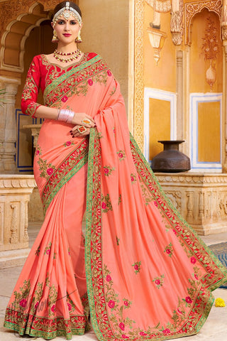 Peach and Red Georgette and Silk Saree