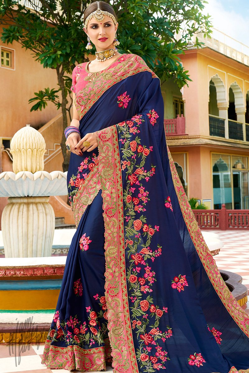 Navy Blue and Pink Georgette and Silk Saree