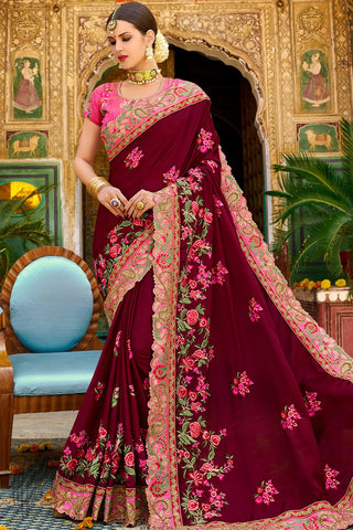 Wine and Pink Georgette and Silk Saree