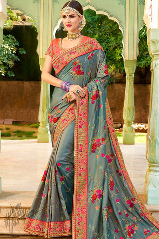 Gray and Orange Georgette and Silk Saree