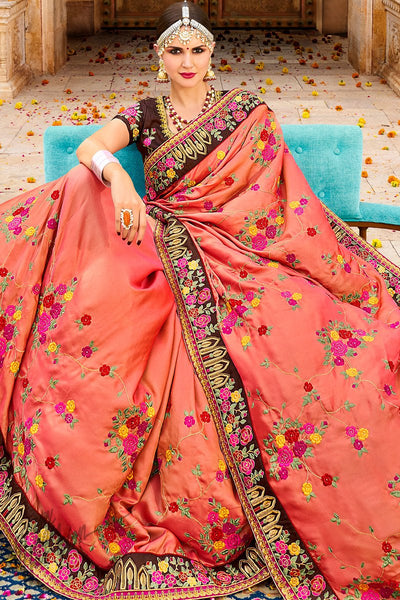 Peach and Brown Georgette and Silk Saree