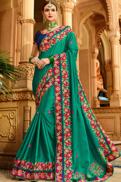 Dark green and Blue Georgette and Silk Saree